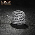 CWW Brand White Gold Plated Full CZ Diamond Setting Big Micro Pave Finger Rings For Womens Fashion Jewellery R085