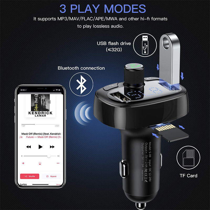 Baseus Car Charger FM Transmitter Aux Modulator Bluetooth Handsfree Car Audio MP3 Player 3.4A Fast Dual USB Mobile Phone Charger 3