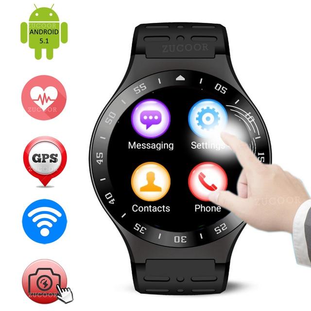 Оригинал Смарт Наручные Часы Android 5.1 Наручные Часы Smartwatch 512 МБ + 8 ГБ ZW99 Полный Круглый Сенсорный Экран Часы GPS WI-FI 3 Г Мужчины Часы