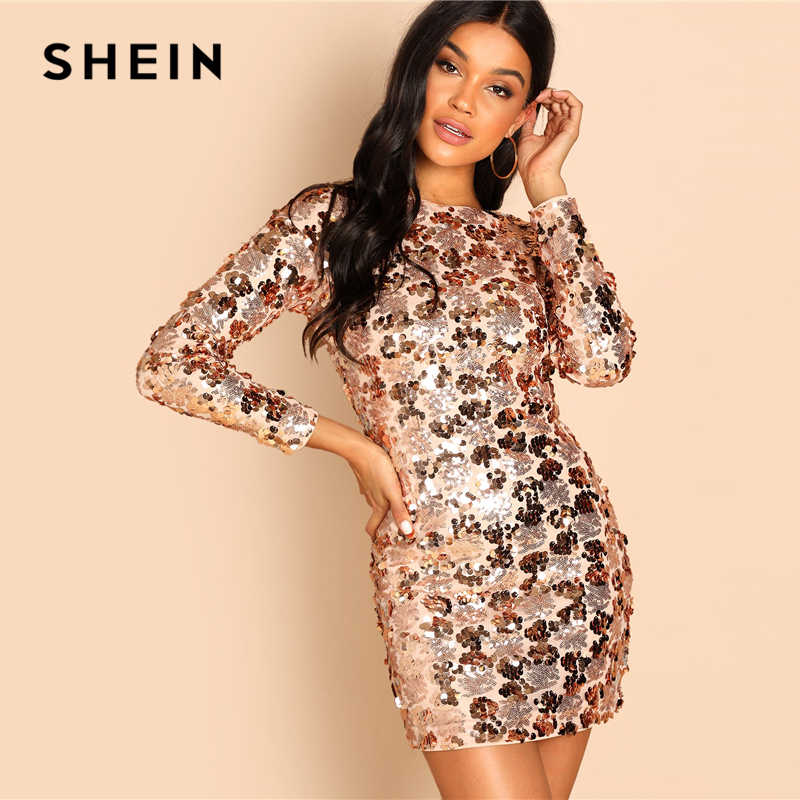 f8262650447 ... SHEIN Gold Party Sexy Backless Sequin Round Neck Long Sleeve Bodycon  Dress Autumn Club Slim Fit ...