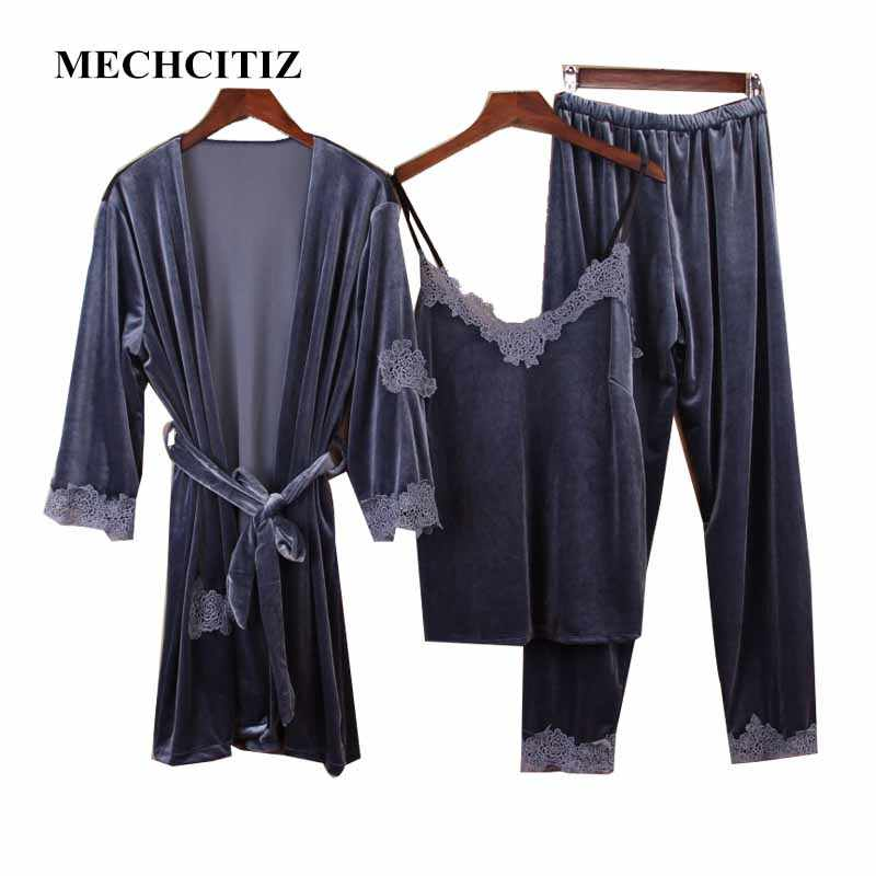 MECHCITIZ Three Piece Female Sexy Pajamas Set Autumn Winter Velvet Robe  Sling Pajamas Long Sleeved Pants c9c58fbbf