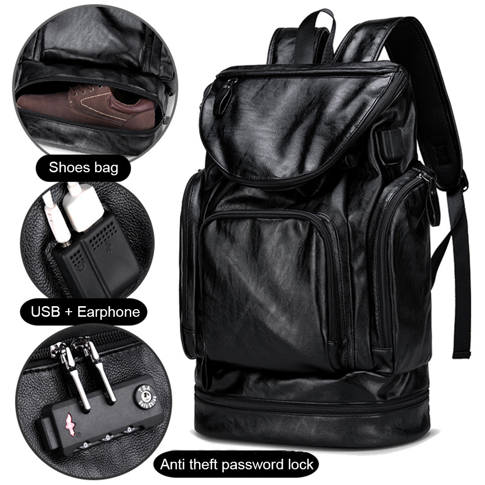 Anti Theft Backpack PU Leather Backpacks Mens Laptop 17 Inch 15 6 Back Pack with Shoes