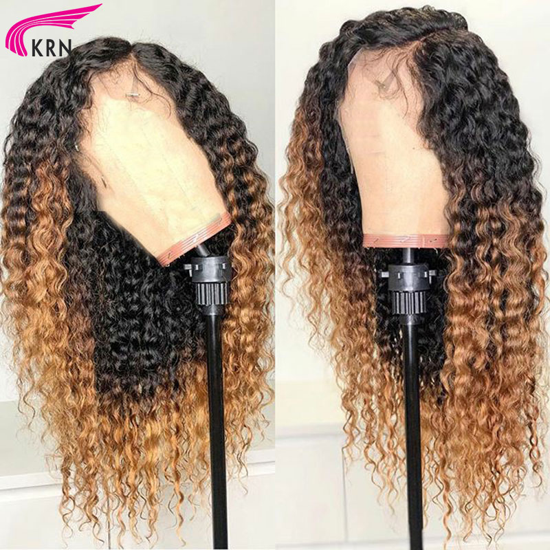 KRN 1B27 Ombre Lace Front Human Hair Wigs With Baby Hair Curly Remy Pre Plucked Brazilian