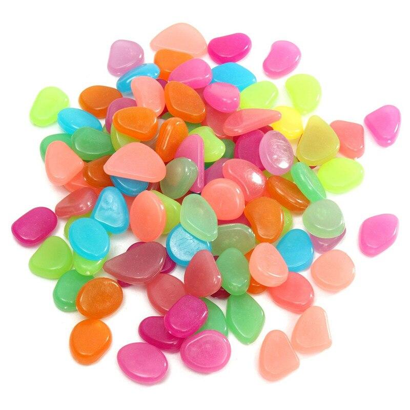 100Pcs Glow In The Dark Stones Pebbles Rock For Aquarium Fish Tank Garden  Decor Best Price