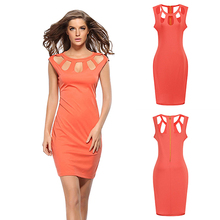 Women Summer Sexy Sleeveless Slim Hollow Bodycon Cocktail Club Party Mini Dress