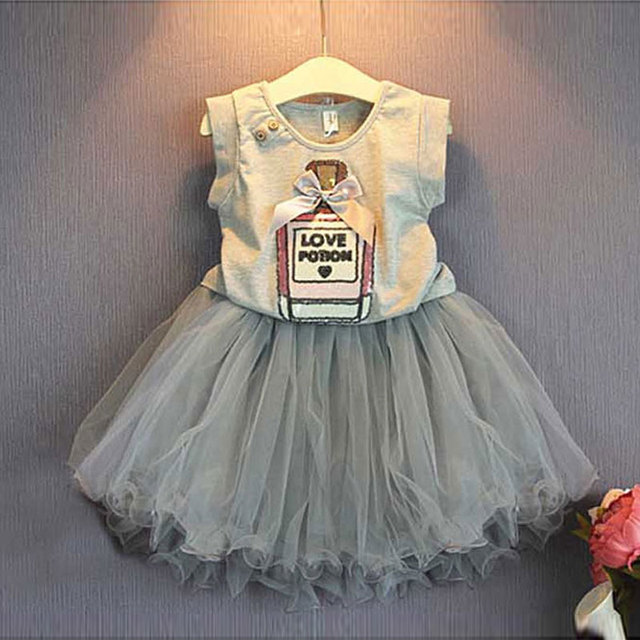 children's summer style toddler girl clothing sets 2016 for kids girls clothes brand sleeveless shirt tutu skirts set