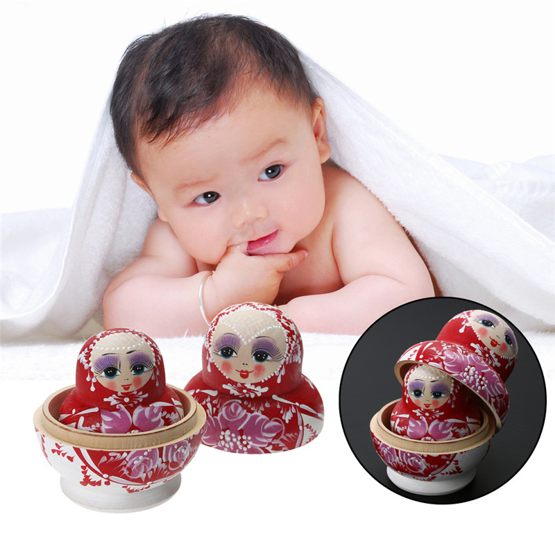 Wooden Matryoshka Set Russian Dolls Baby Toy Nesting Dolls Hand Painted Home Decoration Birthday Gifts