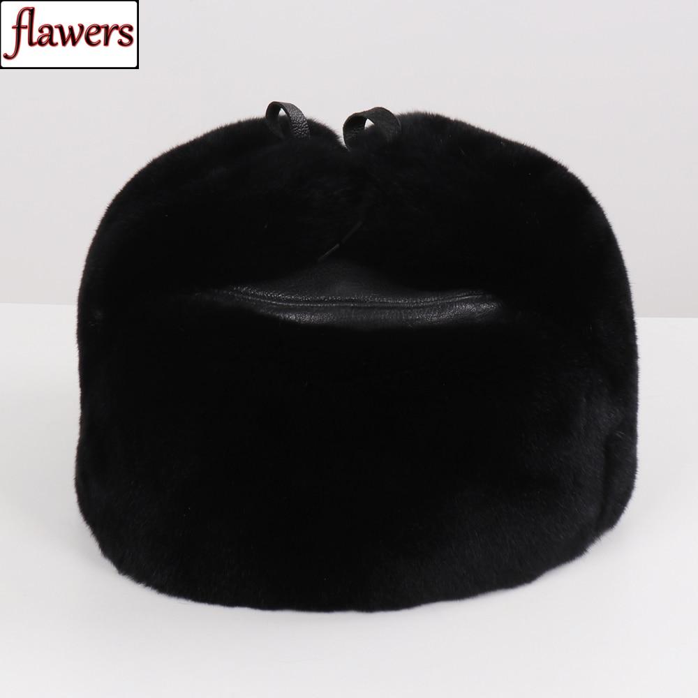 Russian Men 100% Natural Full Pelt Rex Rabbit Fur Bomber Hats Luxury Genuine Leather Ushanka Cap Winter Man Warmer Real Fur Hat