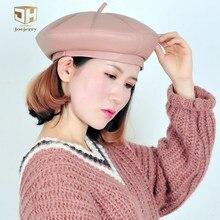 Boina de cuero de joejerry Falt mujeres gorras de invierno sombrero francés  boina de artista Rosa 052fc5bad42