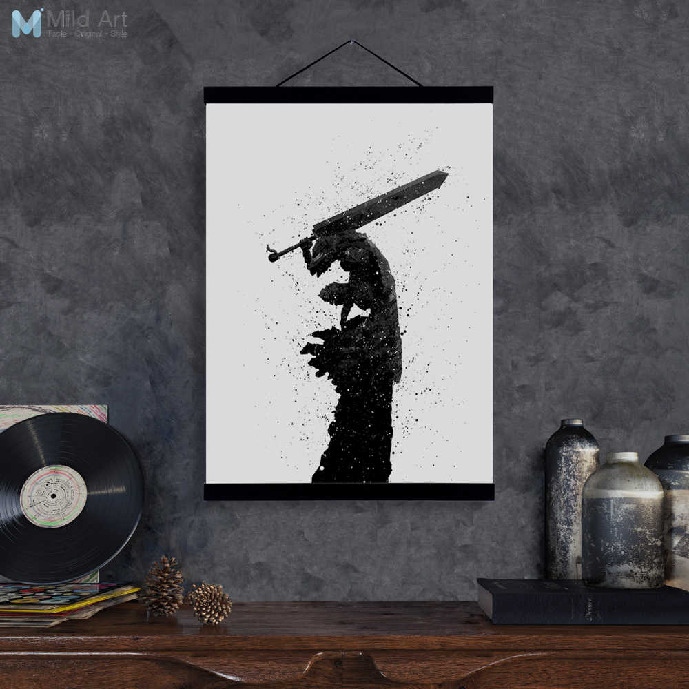 Abstract Japanese Pop Anime Berserk Guts Wooden Framed Canvas Print Poster Big Wall Art Picture Painting Scroll Living Room Deco