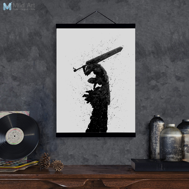Top Abstract Japanese Pop Anime Berserk Guts Wooden Framed Canvas  IN46