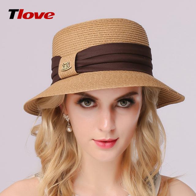 2016 dama de moda paja sol sombrero mujeres Ladies Beach Summer panamá de ala ancha dom Cap plegable femenino sombrero B-3141