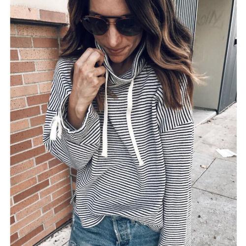 bb30ed5d8655 CANIS Newly Design Women Casual Striped Long Sleeve Hoodie Sweatshirt Outfit  Streetwear Black Tops Shirt