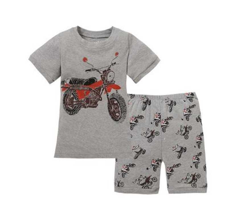 Grey Boy Pajamas Clothes Suit Summer Short Racing Motorcycle Children Pj's  Tee Shirt Pant 2 Pieces Sleepwear Boys Tops 2 7 Years Pajama Sets  -  AliExpress