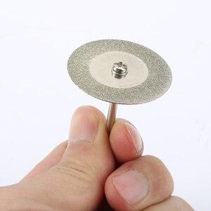 Image 2 - 10 pièces 35mm dremel accessoires pierre Jade verre diamant dremel disque de coupe ajustement outil rotatif Dremel forets outil avec deux mandrin