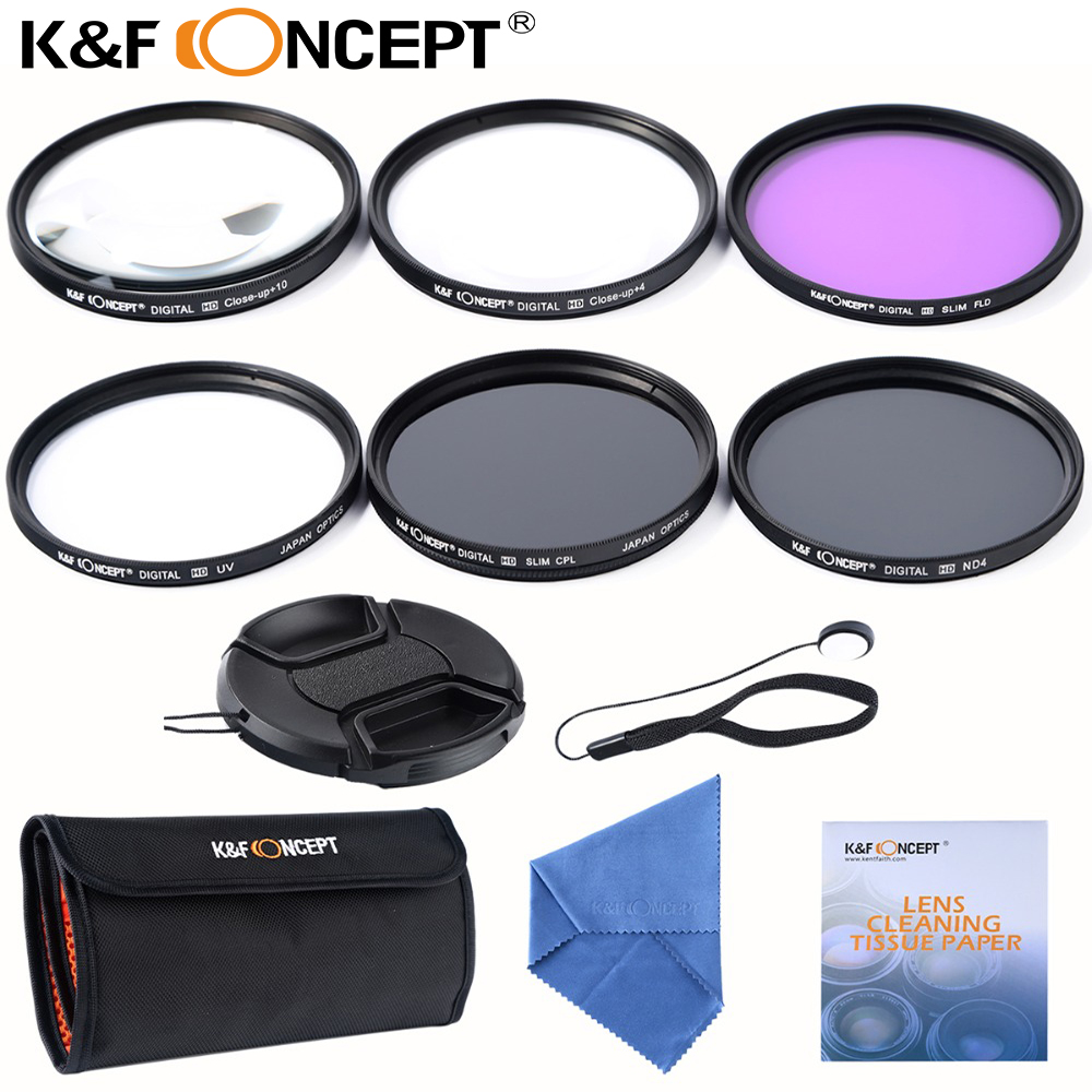 K & F CONCEPT 52mm 55mm 67mm Slim UV CPL FLD ND4 + Macro Close up + 4 + 10 + kits de nettoyage de lentille filtre pour nikon d7100 d5100 d3100 D3200