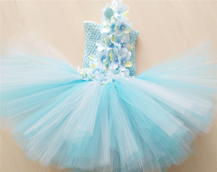 779aae401 Baby Girls Flower Princess Tutu Dress Girl Wedding Gowns Kids Toddler  Birthday Party Dress Light Blue Tulle Dress For 0 4 Year-in Dresses from  Mother & Kids ...