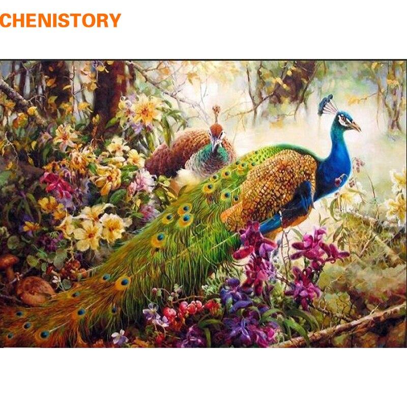 CHENISTORY pfau DIY Malerei Durch Zahlen tier Acryl Malen Auf Leinwand familie Hand-Gemalt Abbildung Gemälde Wand Kunstwerk