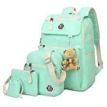 Conjunto de 4 mochilas escolares de lona para mujer, mochila de colegio, mochila de moda para adolescentes y niños, mochila para mochila, bandolera