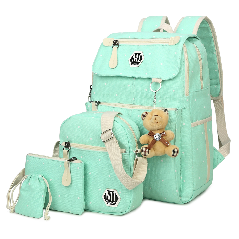 Women Canvas 4Pcs/set School Backpacks College Schoolbag Fashion Plecak for Teenager Girl And Boys Rucksack Moclila Shoulder Bag-in School Bags from Luggage & Bags