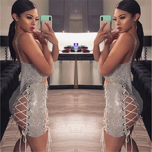 Silver Bling Rhinestones Spaghetti Strap Crop Top Hollow Out Bandage Mini Skirts Two Piece Set