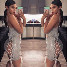 Silver Bling Rhinestones Spaghetti Strap Crop Top Hollow Out Bandage Mini Skirts Two Piece Set Women Sexy Matching Sets Outfits(China)