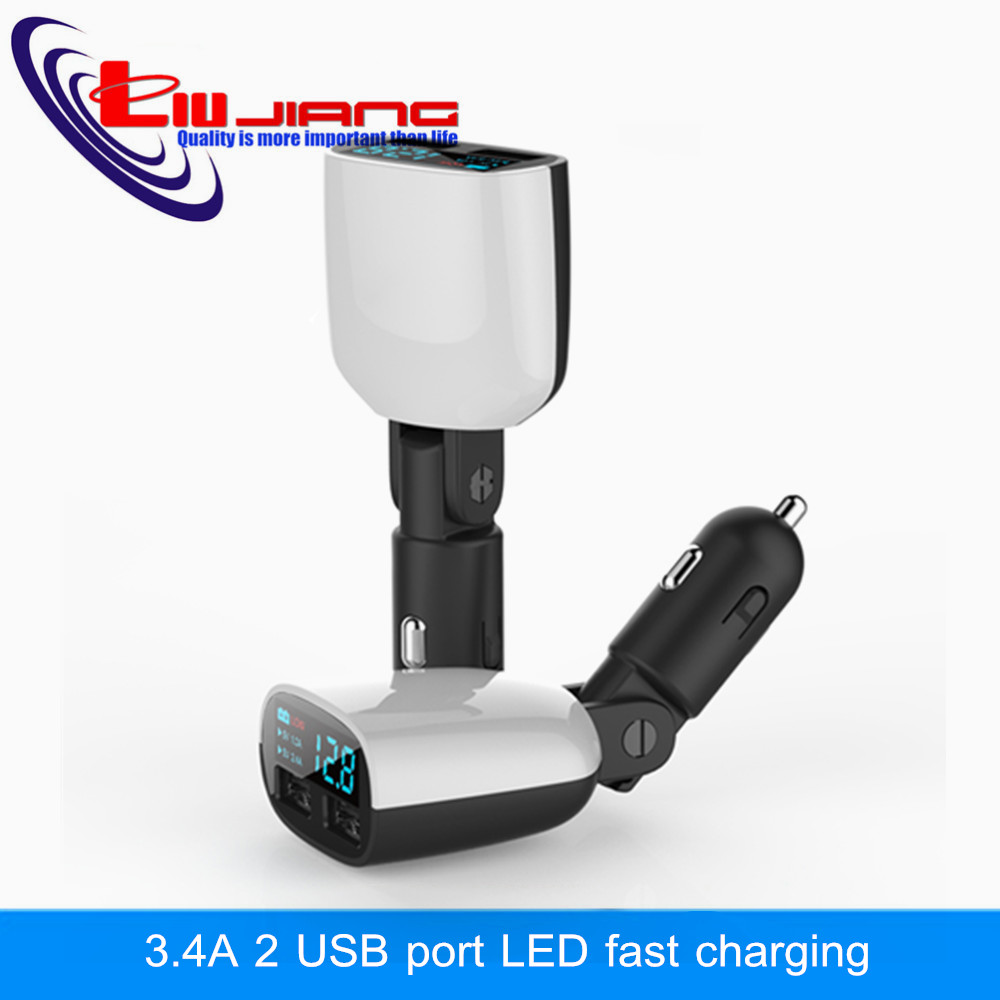 Liujiang Dual USB Universal Car Charger 4.8A LED Display Swing Rotate Design Car Charger for Samusng Mobile Phone Car-Charger