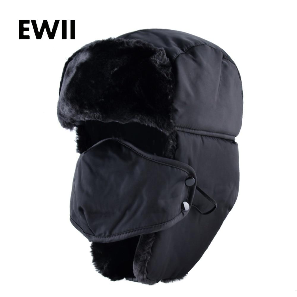 Ushanka Russian Faux Fur Cap Men Winter Hats Ear Flaps Snow Bomber Hat Windproof For Women Warm Troope Caps Gorro Balaclava