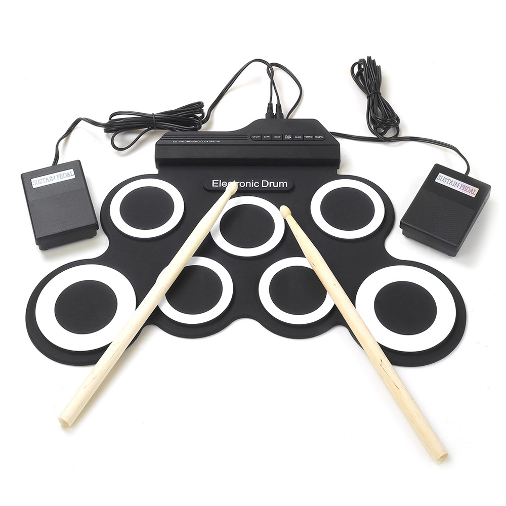 Percussion-Instruments Support External-Headphones Hand-Roll Electronic Drum Silicone