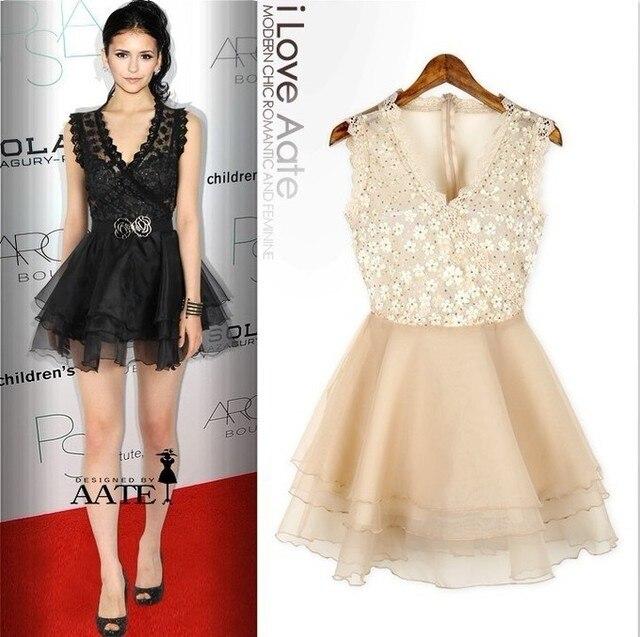 Sommer Kleid 2013 Mode Sexy Kleid Promi Nina Dobrev Mesh Beige ...