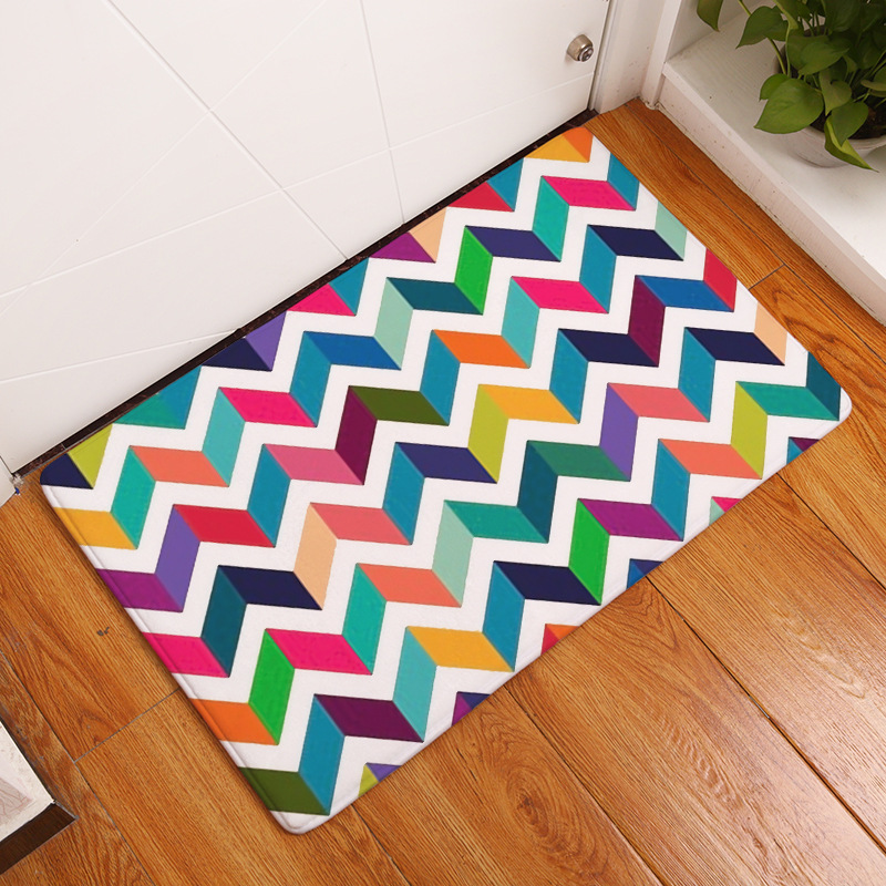 Rainbow Stripes Outside Shoes Scraper Floor Door Mat for Porch Garage Decor Non Slip Entrance Rug Low Profile Welcome Carpet