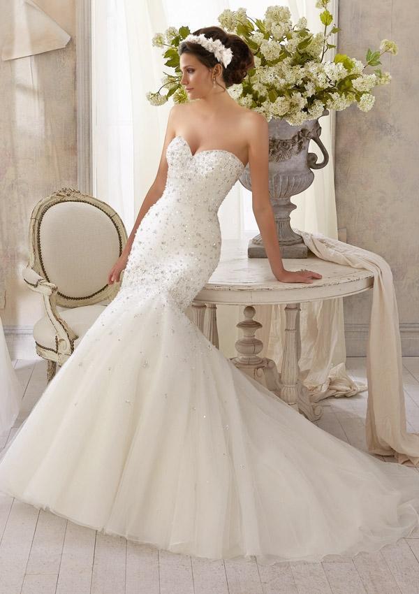 Heavy beaded mermaid wedding dresses 2015 sweetheart for Heavy beaded wedding dresses