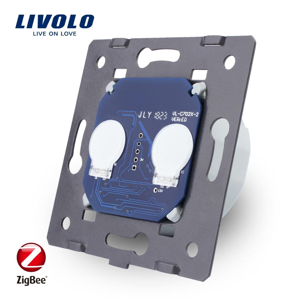 LIVOLO EU Standard ZigBee switch ,  The Base Of  Wall Light wireless smart Touch Switch, 2Gang 1Way, AC 220~250V ,VL-C702Z