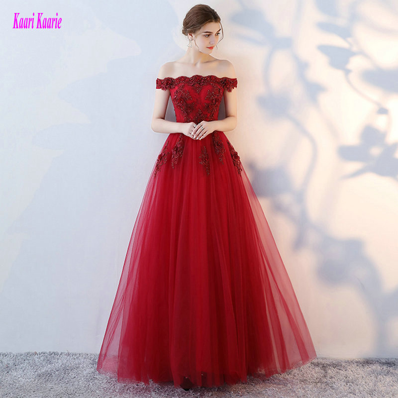 Junoesque Plus Size Burgundy Evening Dresses Long 2018 Sexy Women Evening Party Gowns Tulle Appliques Formal Dress Custom Made