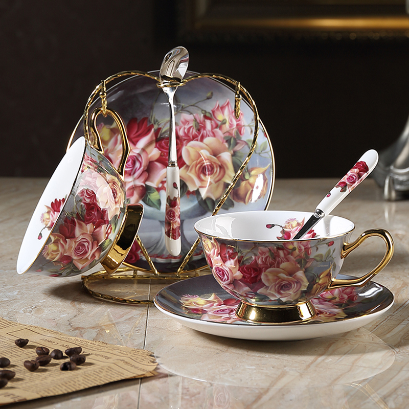 High-grade bone china coffee cup creative British afternoon tea flower teacup saucer set gold edge ceramic coffee cup drinkware