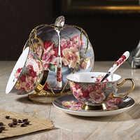 High-grade bone china coffee cup creative British afternoon tea flower teacup saucer set gold edge ceramic coffee cup drinkware