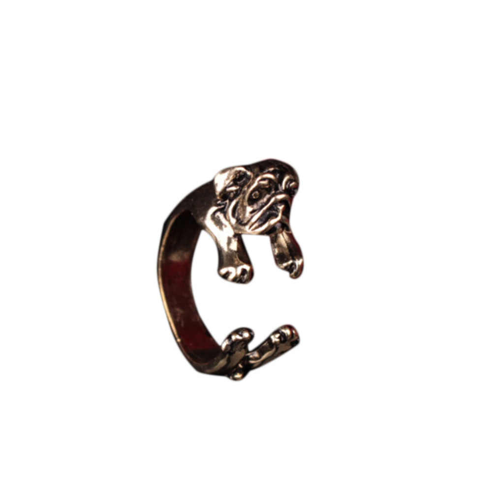 Cute Personality Neutral Man's Animal Opening Adjustable Pug Dog Shar Ring Lovely Alloy Three Colors Optional