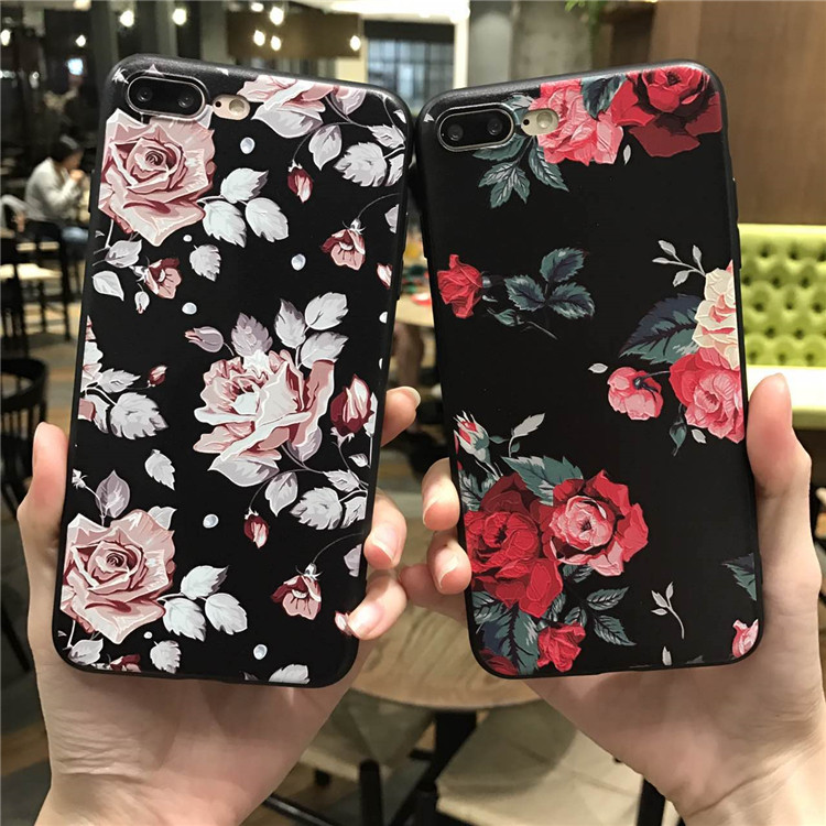 Pink White Rose Flower Silicone Full Body Case <font><b>for</b></font> <font><b>iPhone</b></font> 8 7 <font><b>6</b></font> 6s 5 5s Case soft Phone Cases Back <font><b>Cover</b></font> <font><b>for</b></font> 7 <font><b>6</b></font> plus Capa Coque image
