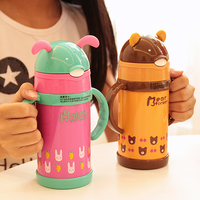 Cute baby boys and girls cartoon mug with straw dual 304 stainless steel primary bottle drop resistance