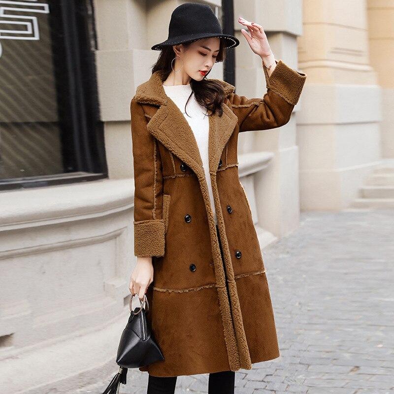 Hiver Femelle 2 Longue Laine Mode 1 En Manteaux Manteau Vestes Mouton De Agneaux Suede Faux Femme Cuir Double Survêtement Peau Boutonnage r7BpnrR