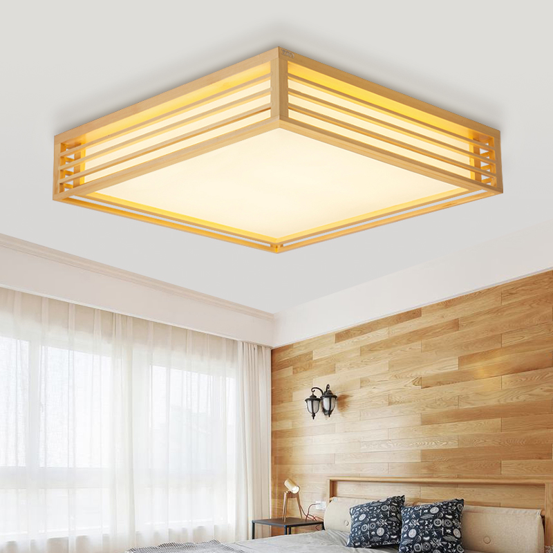 Solid Wooden bedroom lamp LED ceiling lamps art lamps square living room lamps Ceiling Lights Japanese tatami wood ZA MZ45 japanese ceiling lights solid wood lamp indoor lighting living room tatami sheepskin lamp bedroom ceiling light design square