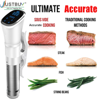 Vacuum Slow Sous Vide Food Cooker 1800W Powerful Immersion Circulator LCD Digital Timer Display Stainless Steel IPX7