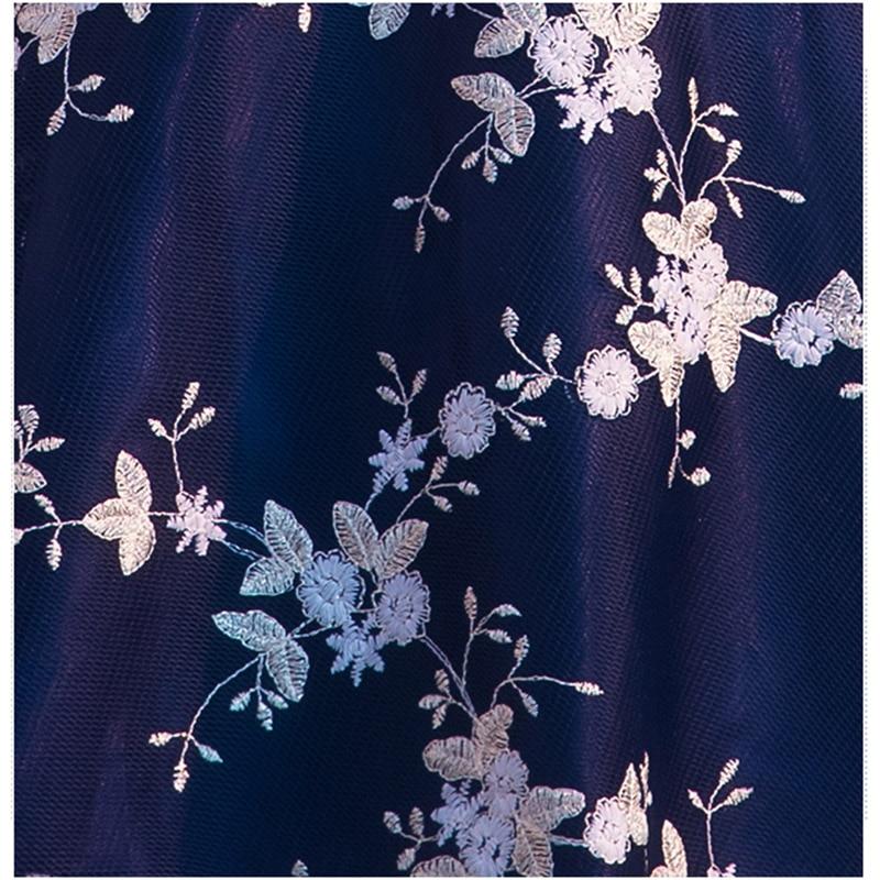Chá de Comprimento Vestido de Noite Bordado Festa Floral Vestidos Bow Sashes Vestido De Festa Formal Prom Vestido 2018 Robe De sarau - 6