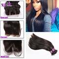 Cheap peruvian virgin hair straight 100% human hair bundles with top silky lace closure 4 by 4 grace peruvian hair with closure