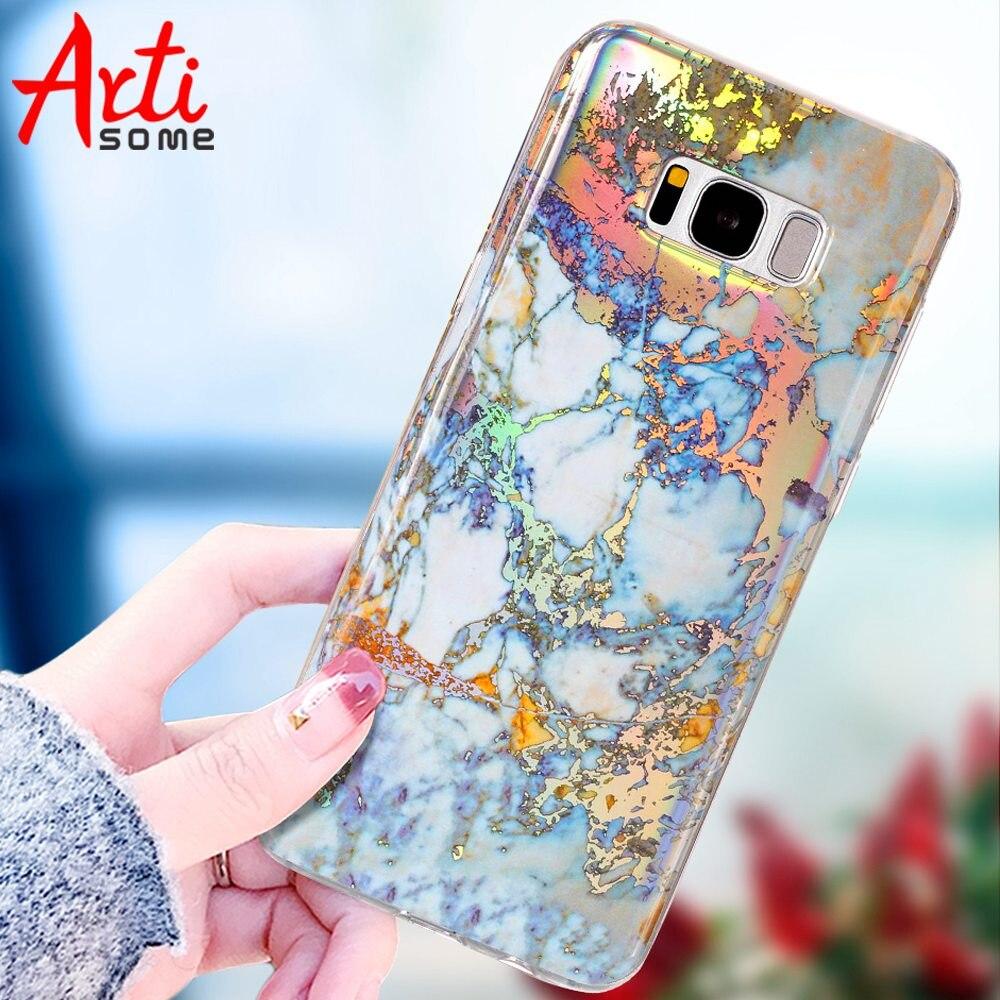 aa57cdda568 Caso de mármol de la manera para Samsung Galaxy S8 Plus caso silicona TPU  mármol brillante cubierta con motivos para Samsung S8 S7 S6 borde S5 caso  en Casos ...