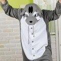 Nova lobo Animal pijama Sleepsuit macacão pijamas pijama Unisex Cosplay cinza