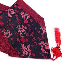 Patchwork Chinois Mot Chemins de Table À Manger Table Tapis Style Ethnique Tissu Damassé Rectangulaire Nappes pour Festive Partie