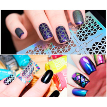 6 Patterns/Sheet Nail Vinyls Stickers Holographic Hollow Stencil Mixed Patterns Transfer Decals Art Design