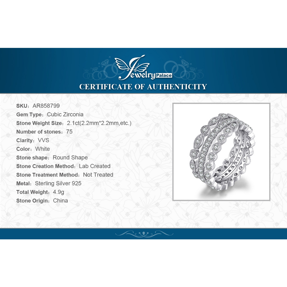 Jewelrypalace mode 2.15ct cubic zirconia 3 keabadian band rings untuk - Perhiasan fashion - Foto 6