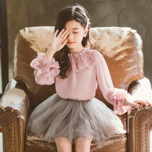 Image 2 - 2020 printemps automne mousseline de soie dentelle bébé enfant en bas âge filles Blouse blanc vêtements enfants à manches longues école fille chemise enfants hauts JW4497A